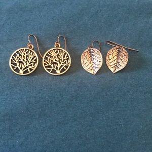 Tree and Leaf Hook Earrings